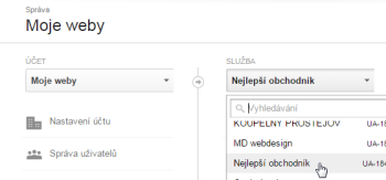 Google Analytics: výběr webu