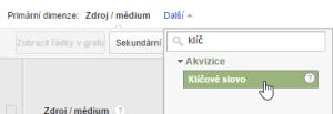 Google Analytics - volba primární dimenze Klíčová slova