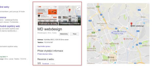 Kontextová informace z firemního katalogu Googlu přímo ve vyhledávači a tentýž záznam v mapách