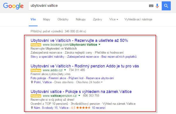 PPC reklama Adwords ve vyhledávači Google