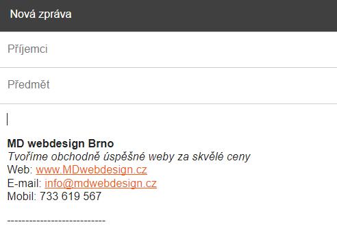 WWW adresa v podpisu e-mailu